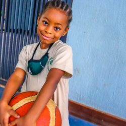 Kampala International School Key stage student with a ball